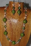"MBAHB #58-0071  ""Green & Clear Bead Necklace & Earring Set"""