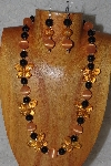 "MBAHB #58-0047  ""Orange & Black Bead Necklace & Earring Set"""