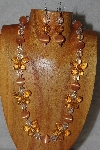 "MBAHB #58-040  ""Orange & Clear Bead Necklace & Earring Set"""