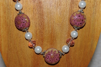 "MBAHB #58-022  ""Pink & White Bead Necklace & Earring Set"""
