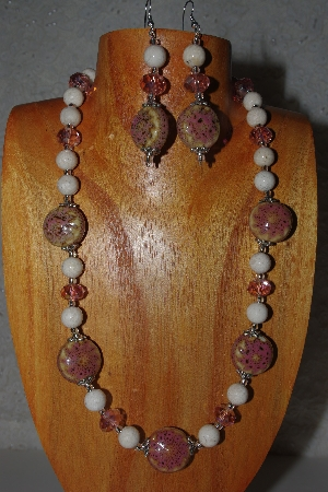 "MBAHB #58-0016  ""Pink & White Bead Necklace & Earring Set"""
