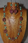 "MBAHB #58-0008  ""Pink & Green Bead Necklace & Earring Set"""
