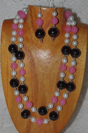 "MBAHB #58-0141  ""White,Pink & Black Bead Necklace & Earring Set"""