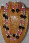 "+MBAHB #58-0141  ""White,Pink & Black Bead Necklace & Earring Set"""