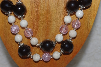 "MBAHB #58-0149  ""White,Pink & Black Bead Necklace & Earring Set"""