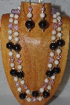 "+MBAHB #58-0149  ""White,Pink & Black Bead Necklace & Earring Set"""