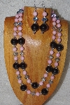 "+MBAHB #58-0155  ""Black,Pink & Blue Bead Necklace & Earring Set"""