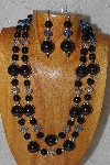 "+MBAHB #58-0161  ""Black & Blue Bead Necklace & Earring Set"""