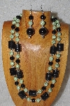 "+MBAHB #58-0173  ""Green & Black Bead Necklace & Earring Set"""