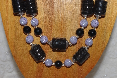 "MBAHB #58-0178  ""Black & Lavender Bead Necklace & Earring Set"""
