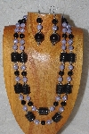 "+MBAHB #58-0178  ""Black & Lavender Bead Necklace & Earring Set"""