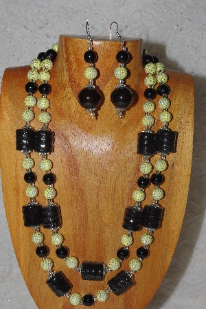 "MBAHB #58-0184  ""Yellow & Black Bead Necklace & Earring Set"""