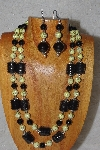 "+MBAHB #58-0184  ""Yellow & Black Bead Necklace & Earring Set"""