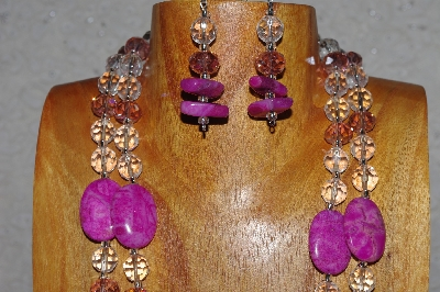 "MBAHB #58-0192  ""Pink & Clear Bead Necklace & Earring Set"""