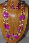 "+MBAHB #58-0192  ""Pink & Clear Bead Necklace & Earring Set"""