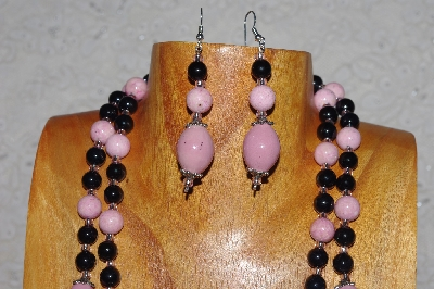 "*MBAHB #58-0198  ""Pink & Black Bead Necklace & Earring Set"""