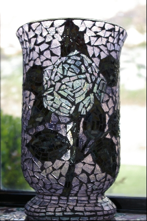 Country Rose Stained Glass Vase