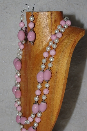"MBAHB #58-0203  ""Pink & White Bead Necklace & Earring Set"""