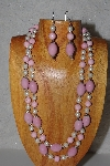 "+MBAHB #58-0203  ""Pink & White Bead Necklace & Earring Set"""