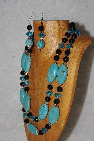 "MBAHB #58-0212  ""Blue & Black Bead Necklace & Earring Set"""