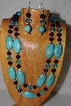 "+MBAHB #58-0212  ""Blue & Black Bead Necklace & Earring Set"""