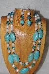 "+MBAHB #58-0217  ""Blue & White Bead Necklace & Earring Set"""