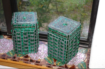 Set Of 2 Green Stained Glass Canisters
