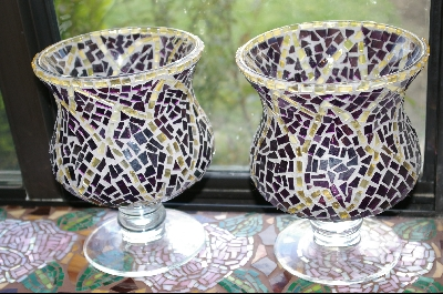 Set Of 2 Elegant Stained Glass Candle Holders