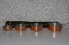 """SOLD""  MBAVG #101-0263  'Set Of 4 Hanging Copper Measuring Cups With Wall Mount"""