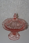 "+MBAVG #101-0217  ""Vintage Pink Depression Glass Lidded Candy Dish"""