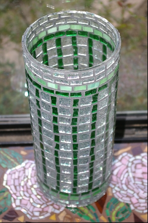 Large Green & Clear Stained Glass Vase