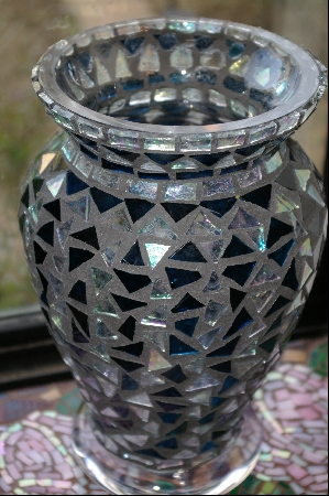 Blue & Clear Stanied Glass Vase
