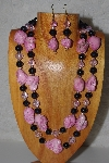 "+MBAMG #100-0136  ""Pink & Black Bead Necklace & Earring Set"""