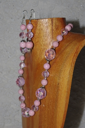 "MBAMG #100-0156  ""Pink Bead Necklace & Earring Set"""