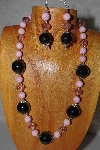 "MBAMG #100-0162  ""Pink & Black Bead Necklace & Earring Set"""