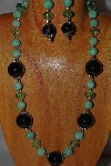 "MBAMG #100-0168  ""Black & Green Bead Necklace & Earring Set"""