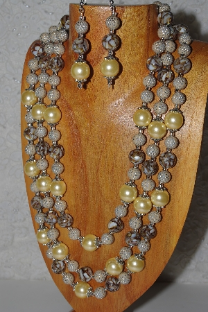 "MBAMG #100-0200  ""Tan,Yellow & Brown Bead Necklace & Earring Set"""