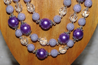 "MBAMG #100-0207  ""Lavender & Clear Bead Necklace & Earring Set"""