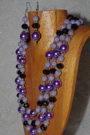 "MBAMG #100-0220  ""Lavender & Black Bead Necklace & Earring Set"""