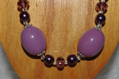 "MBAMG #100-0233  ""Purple Bead Necklace & Earring Set"""