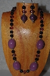"MBAMG #100-0244  ""Purple & Black Bead Necklace & Earring Set"""