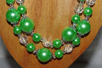 "MBAMG #100-0266  ""Green & Clear Bead Necklace & Earring Set"""