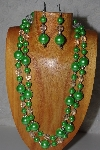 "+MBAMG #100-0266  ""Green & Clear Bead Necklace & Earring Set"""