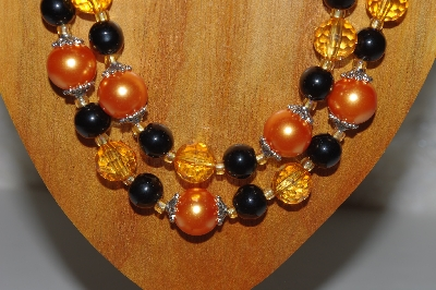 "MBAMG #100-0271  ""Black & Orange Bead Necklace & Earring Set"""