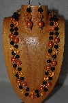"+MBAMG #100-0271  ""Black & Orange Bead Necklace & Earring Set"""