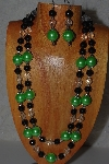 "+MBAMG #100-0277  ""Green,Black & Clear Bead Necklace & Earring Set"""