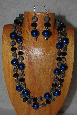 "MBAMG #100-0282  ""Blue,Black & Grey Bead Necklace & Earring Set"""