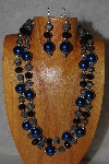 "+MBAMG #100-0282  ""Blue,Black & Grey Bead Necklace & Earring Set"""
