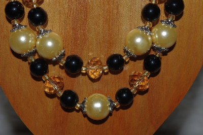 "MBAMG #100-0288  ""Gold & Black Bead Necklace & Earring Set"""