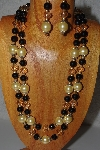 "+MBAMG #100-0288  ""Gold & Black Bead Necklace & Earring Set"""